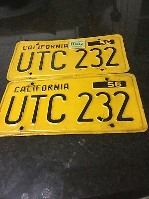 1956 California License Plate Pair Original Condition With 1962 Sticker UTC 232