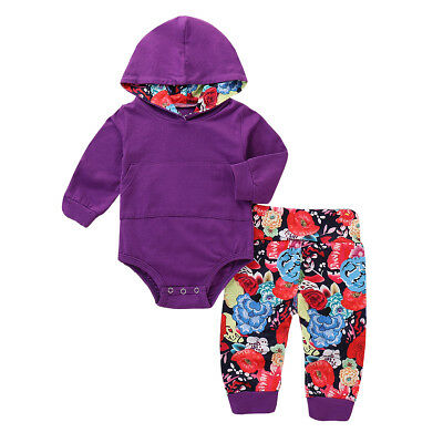 UK Newborn Baby Boy Girl Hooded Top Romper Bodysuit Sweatshirt Pants 2PCS Outfit