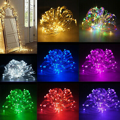 10/20/100 LED Battery Micro Rice Wire Copper Fairy String Lights Party white rgb