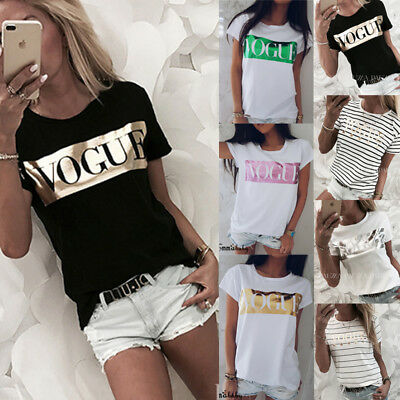 Women Ladies Summer Loose Tops Short Sleeve T Shirt Blouse Casual SIZE S-XL