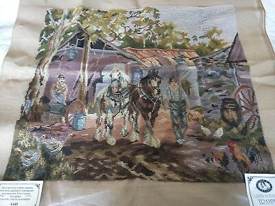 QUEEN ADELAIDE EXCLUSIVE Trammed TAPESTRY CANVAS & WOOL LEAVING THE BLACKSMITH