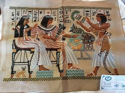 BRAND NEW QUEEN ADELAIDE Trammed TAPESTRY CANVAS & WOOL EGYPTIANS