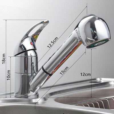 Kitchen Spray Swivel Tap Sink Pull-Out Chrome Brass Mixer Taps Single Handle