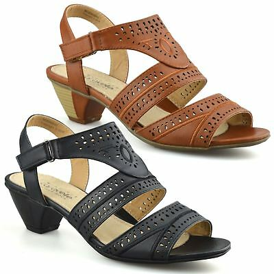 186891805363 Ladies Womens Mid Wedge Heel Wide Fit Casual Comfort Walking Sandals Shoes  Size