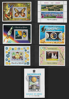 1970-1974 BUTTERFLIES OLYMPICS SPACE EXPO + more, Liberia, mini sheets, CTO