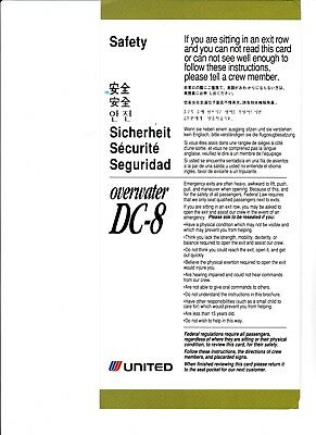 United Airlines overwater DC-8 Safety Card (20 identical cards)