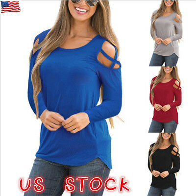 37df41a37bc18 Womens Cold Shoulder Pearls Long Sleeve Tops Blouse Ladies Casual T Shirt  Tee