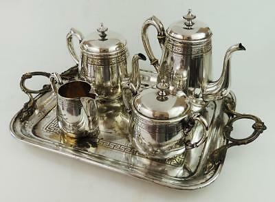 W.M.F AESTHETIC MOVEMENT Victorian SILVER PLATED COFFEE SET c1880's