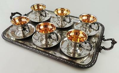 W.M.F AESTHETIC MOVEMENT Victorian SILVER PLATED COFFEE CUPS c1880's