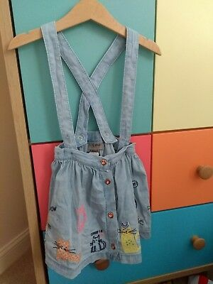 Next Baby Girl CATS pinafore Skirt Denim And Neon 18-24 Months