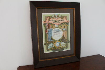 Antique Original Australian Natives Association Ex Presidents Certificate-Framed