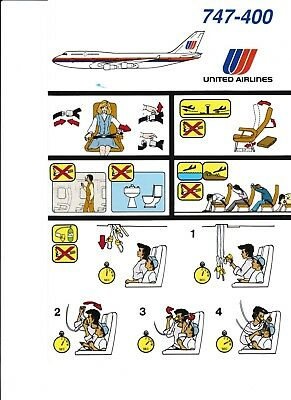 United Airlines 747-400 Safety Card (6 identical cards)