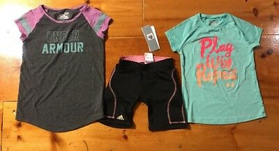 Youth Girls S Under Armour & Adidas Athletic Clothes Lot  2- Shirts 1-Shorts