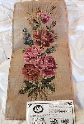 BRAND NEW QUEEN ADELAIDE Trammed TAPESTRY CANVAS & WOOL No. 407 Flowers