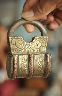 Old Iron Handcrafted Brass & Copper Fitted Unique Solid Padlock