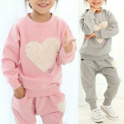 2pcs Kids Girls Heart Pullover T-Shit Tops + Long Pants Outfits Sets Tracksuit