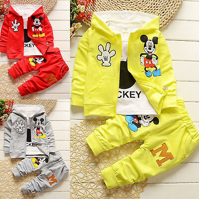 3pcs Kids Boys Girls Outfits Mickey Hoodie Coat+T-shirt Tops +Pants Clothes Sets