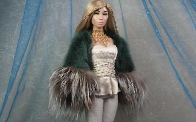 ~Hunter Green Mink & Silver Fox Fur Bolero for Sybarite Ficon KD Dolls~dimitha