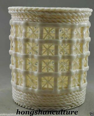 Collectible Decorated Old Handwork Dehua Porcelain Basket Hollowed Pen Container