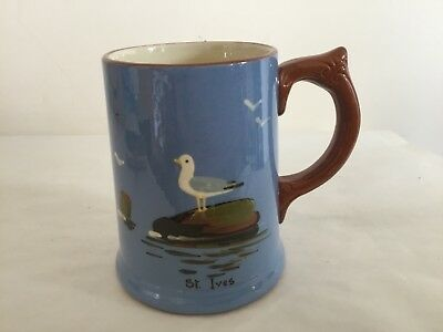 Vintage Dartmouth Pottery Tankard with Handpainted Seagull on Rock - St Ives