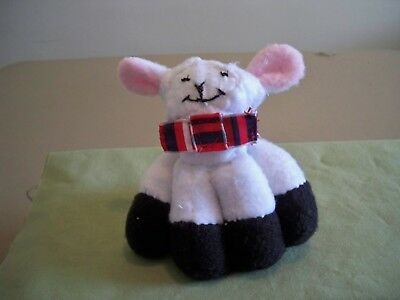 Miniature Cuddle Lamb Doll With Red, White and Blue Bowtie