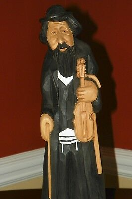 "Large 16"" Tall Hand Carved Wood Judaica Fiddle Playing Rabbi Sculpture <Fiddler>"