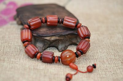 Beautiful Chinese Old  Agate Beads Hand Knitted Praying Bracelet