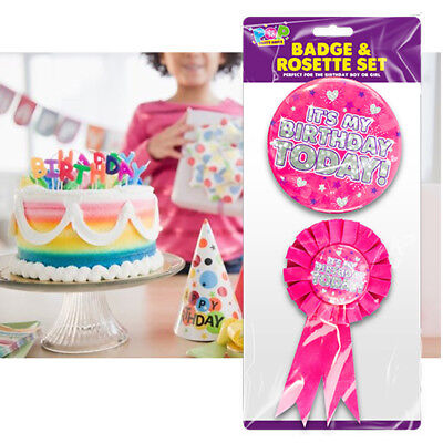 Pink Birthday Badge and Rosette 2 Piece Adult Children Boy Girl Ideal for Party