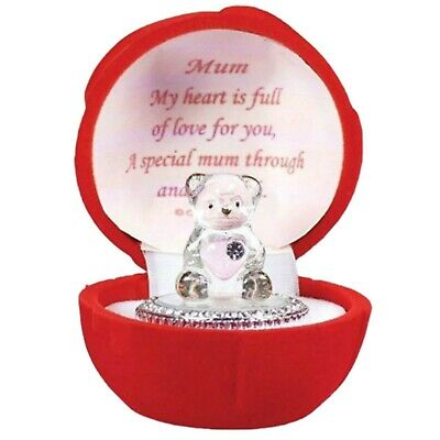 Teddy Bear with Message Ornament Red Rose Box Birthday for Mother Amazing Gift