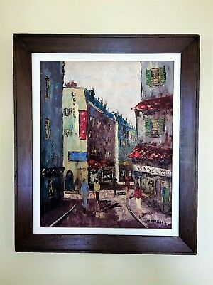 Vintage 1950's Original Oil on Canvas by Jean Bois of France Framed & Signed