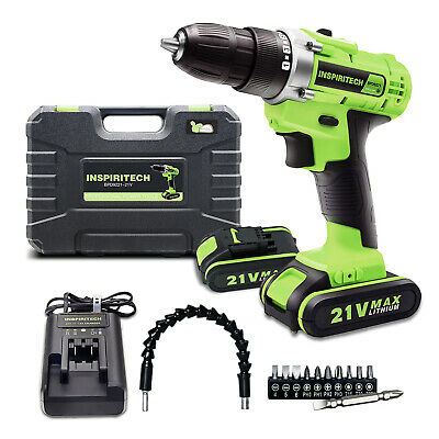 21-Volt drill 2 Speed Electric Cordless Drill/Driver with Bits Set & 2 Batteries
