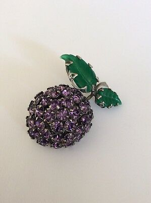 Vintage Sparkly Crystal Green Chrysoprase Glass Grape Pin Amazing