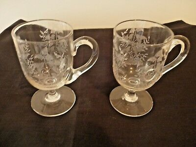 A Pair Of Pretty Victorian Etched Glass Custard Cups