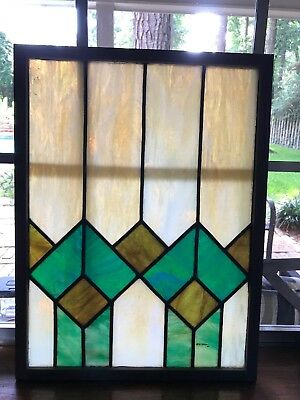 Antique stained glass window framed w/new barn house wood frame 20 x 15 & 1 lb.