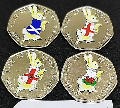 Peter rabbit 4 nations 50p 2017 coin stickers high quality and colour x 8