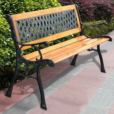 Vintage Porch Deck Hardwood Cast Iron Garden Bench Chair Seat Park Outdoor Patio