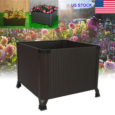Mental Engraved Elevated Raised Planter Box Large Garden Bed Veg Flowers Grow US
