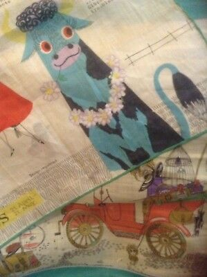Two Vintage Cotton Handkerchiefs From The 1960's, Taurus And Bon Voyage