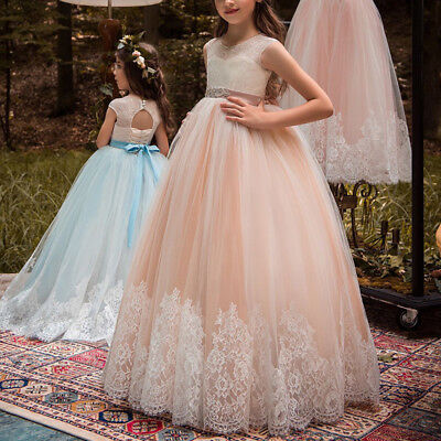 Princess Vintage Lace Long Flower Girl Dress Communion Kid's Party Birthday Gown