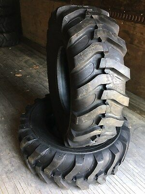 2 NEW 16.9-24 Backhoe Tires R4 - 12 PLY - 16.9X24