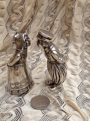 Antique Dutch Boy & Girl Kissing Cruet Salt & Pepper Sterling Silver Figure 204g