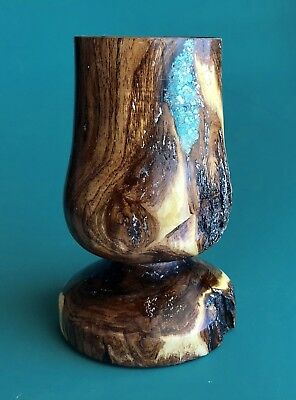 Goblet Mesquite with Turquoise inlay Wood Cup