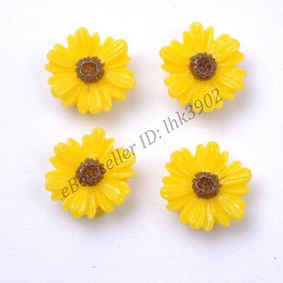 20Pcs Gorgeous Yellow Sunflower Coral Spacer Beads 14MM