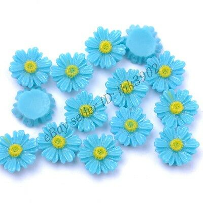 20Pcs Gorgeous Blue Sunflower Coral Spacer Beads 14MM