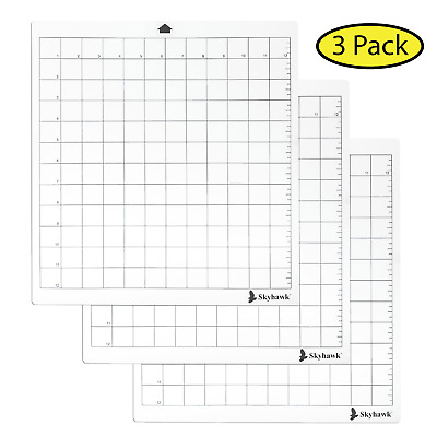 "Skyhawk Adhesive Cutting Mat 12"" x 12"" for Cricut and Silhouette Machine 3-Pack"