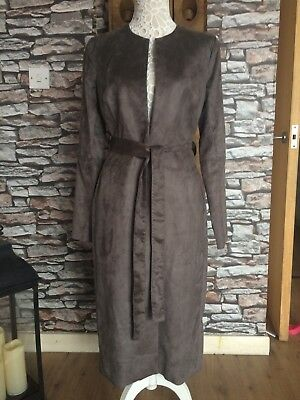 Bnwot Vanessa Knox Maternity Suede Imitation Brown Long Jacket Coat Belt Size 10