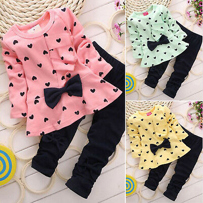 2Pcs Girls Kids Love Heart Bowknot T-shirt Tops + Pants Trousers Outfits Sets