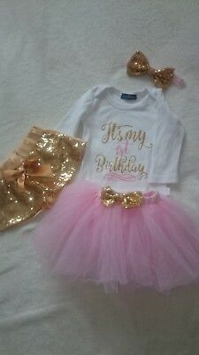 Baby girl first 1st birthday outfit