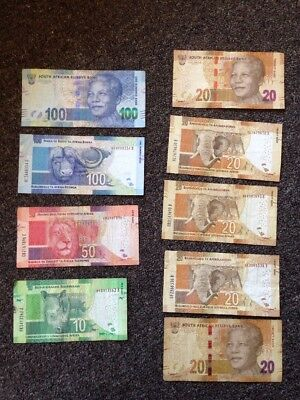 South Africa Set 9 PCS, 10 20 50 100 Rand, Random year, Circulated 360 Rand Lot
