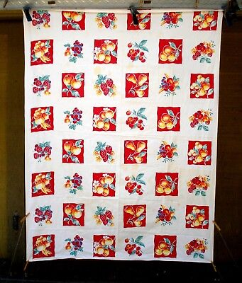 Vintage 40's strawberry cherry peach pear Fruits Tablecloth